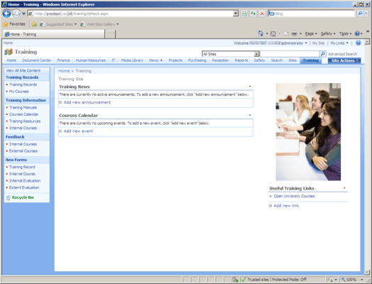 Screenshot of Office Talk Training Templates for SharePoint