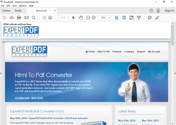 Screenshot of ExpertPDF HtmlToPdf Converter