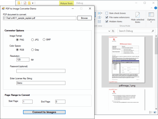 Screenshot of ExpertPDF Pdf To Image Converter