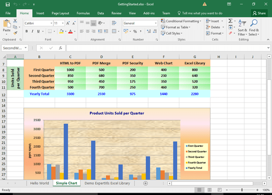 Screenshot of ExpertXLS Excel Library for .NET
