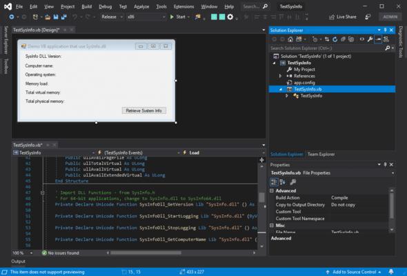 SysInfo DLL SDK(英語版) のスクリーンショット