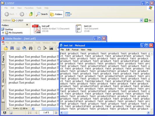 Captura de pantalla de PDFlib TET