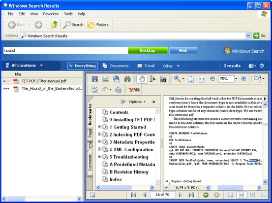 PDFlib TET PDF IFilter 的螢幕截圖