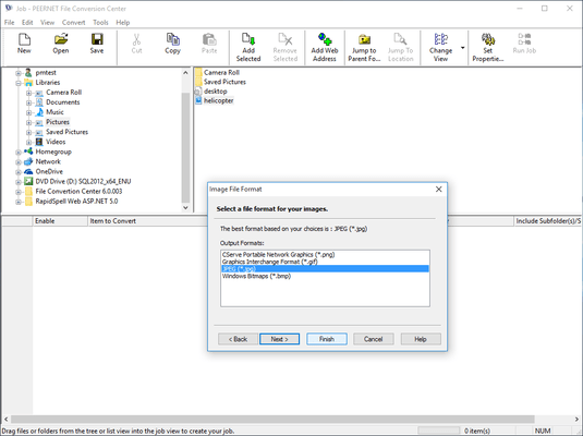 Screenshot of PEERNET File Conversion Center