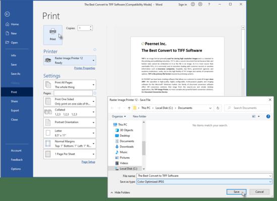 Screenshot of Raster Image Printer