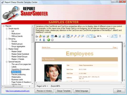 Screenshot of SharpShooter Reports.Web