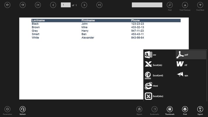 SharpShooter Reports.WinRT のスクリーンショット
