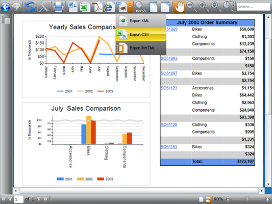 Screenshot of WPF Viewer for Reporting Services