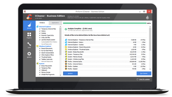 Screenshot of CCleaner Business Edition