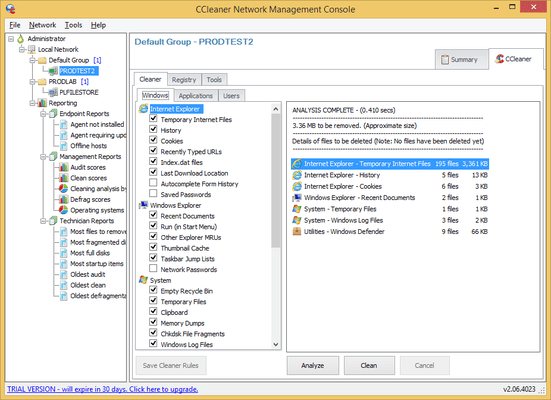 Screenshot of CCleaner Network Edition