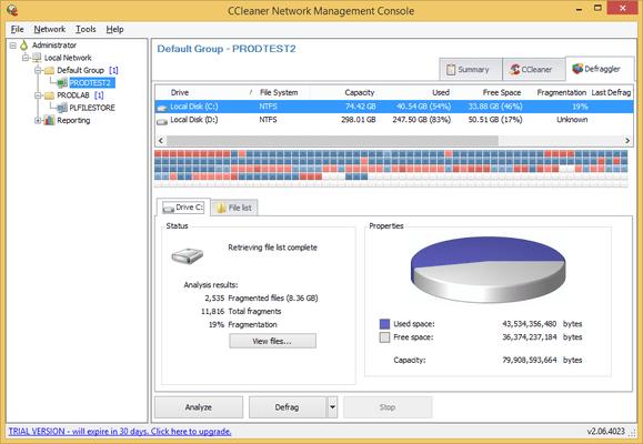 Screenshot of CCleaner Network Professional