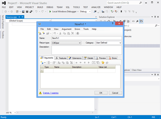 Screenshot of XLL Plus for Visual Studio 2013 and 2015
