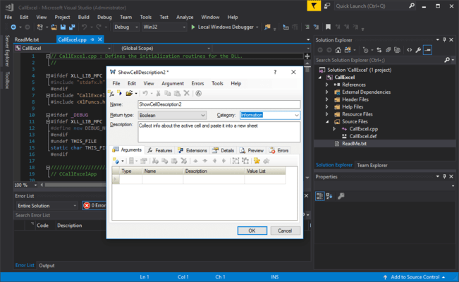 Screenshot of XLL Plus for Visual Studio 2017