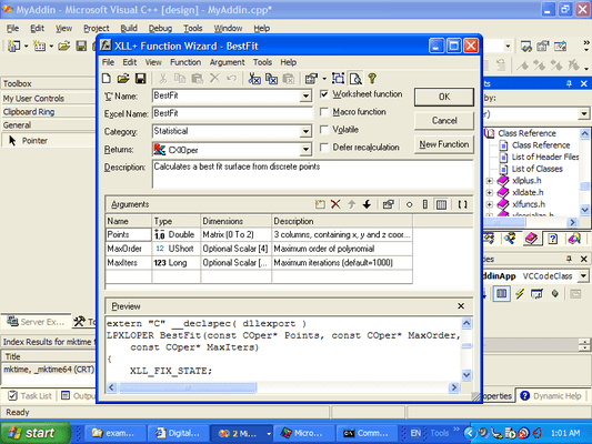 Screenshot of XLL Plus for Visual Studio 6