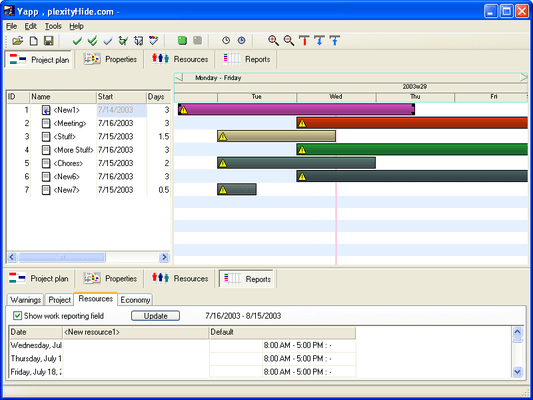 Screenshot of Gantt Time Package ActiveX Edition