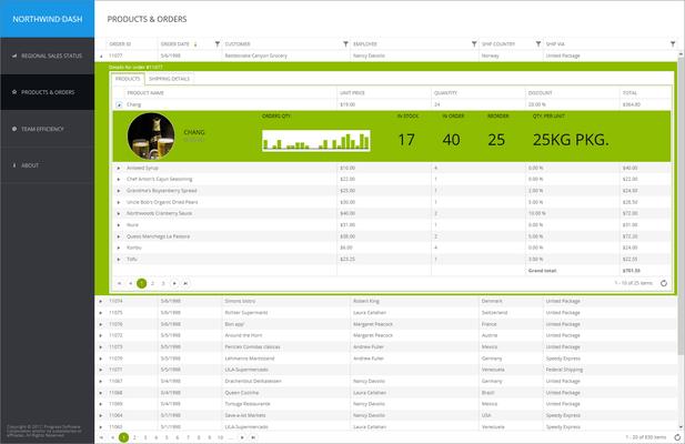 Screenshot of Telerik UI for ASP.NET Core