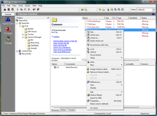 Screenshot of Team Coherence Version Manager
