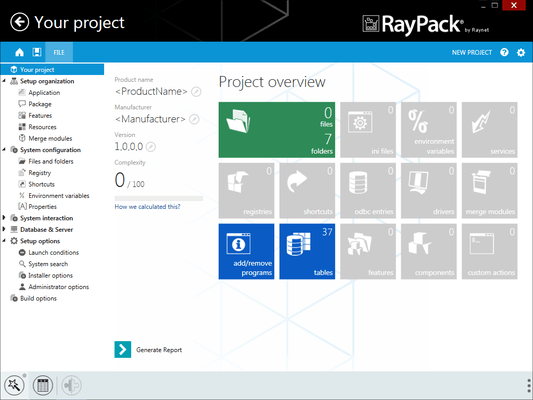 Screenshot of RayPack
