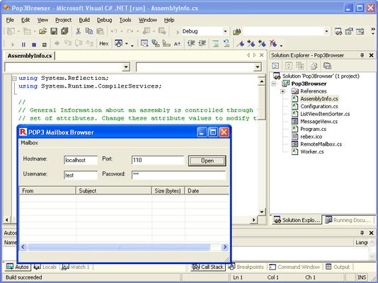 Rebex POP3 for .NET (英語版) のスクリーンショット