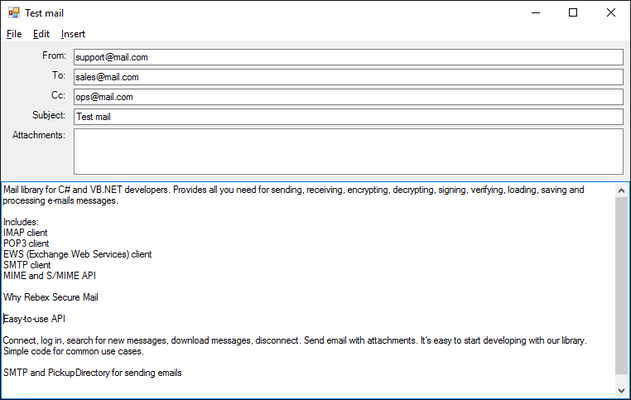 Screenshot of Rebex Secure Mail for .NET