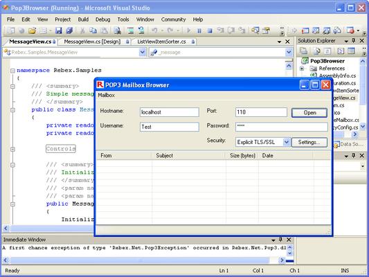 Rebex Secure POP3 for .NET(英語版) のスクリーンショット