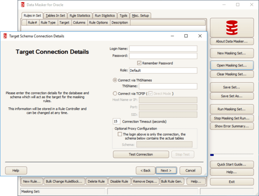 Captura de tela do Data Masker for Oracle