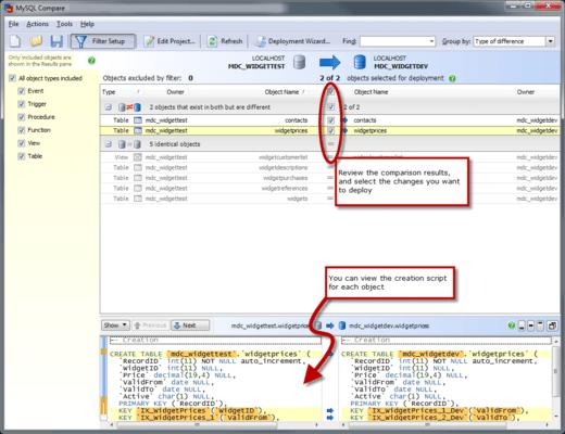 Captura de tela do MySQL Comparison Bundle