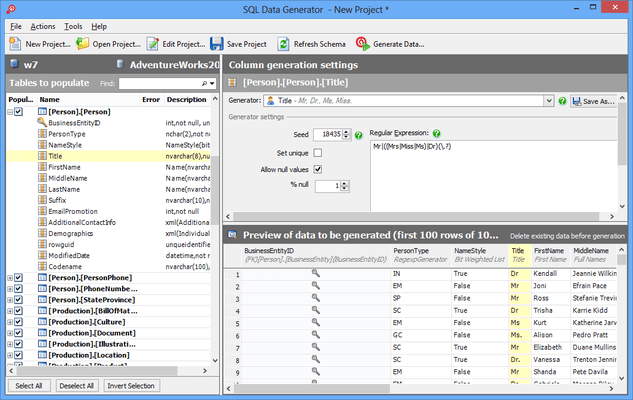 Screenshot of SQL Data Generator