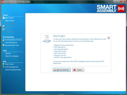 Screenshot of SmartAssembly Developer