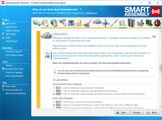 Captura de tela do SmartAssembly Pro