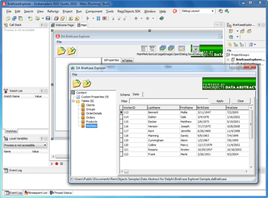 Screenshot of Data Abstract for Cocoa and Delphi