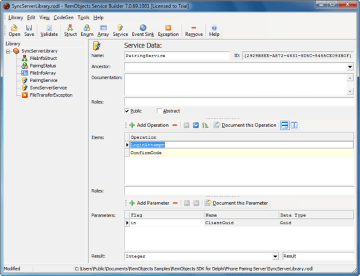 Screenshot of RemObjects SDK for Delphi