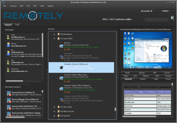 Screenshot of Remotely Support Platform