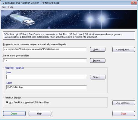 Screenshot von SamLogic USB AutoRun Creator