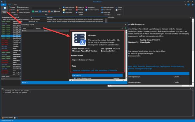 Screenshot of PowerShell ModuleManager