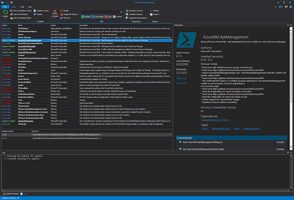 Screenshot of PowerShell ModuleManager