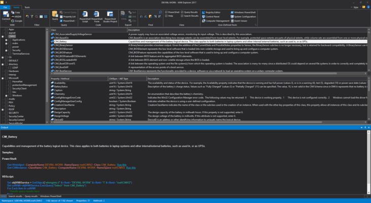 Screenshot of WMI Explorer