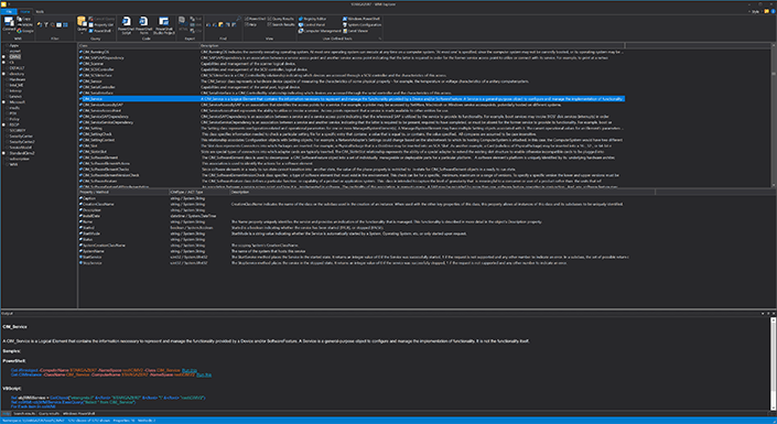 Screenshot of WMI Explorer