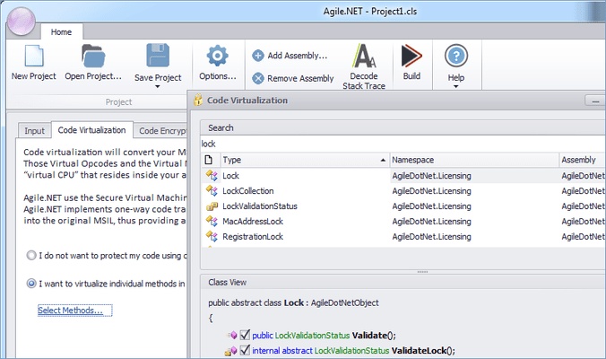Screenshot of Agile.NET Code Protection