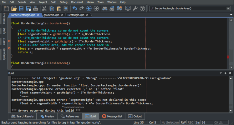 Screenshot of SlickEdit for AIX