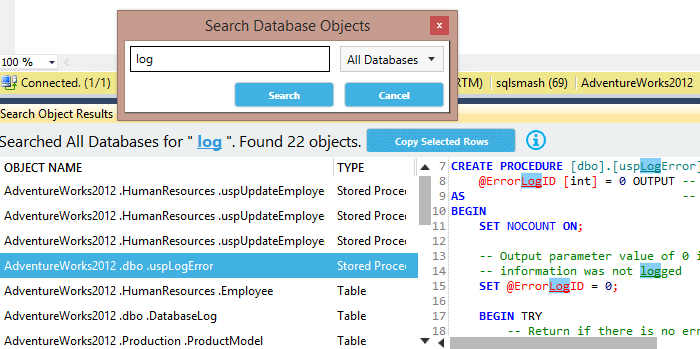 Screenshot of SqlSmash