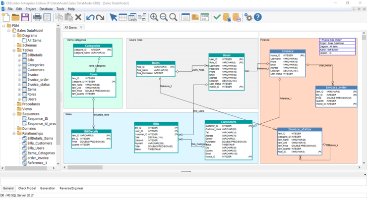 Screenshot of ERBuilder Data Modeler