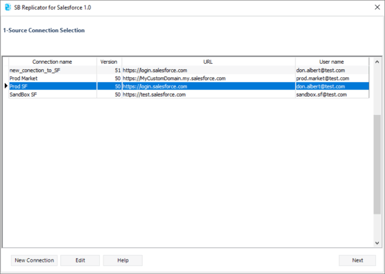 SB Replicator for Salesforce のスクリーンショット