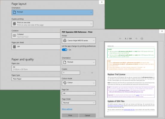 Screenshot of PDF Xpansion SDK - PDF Document Printer