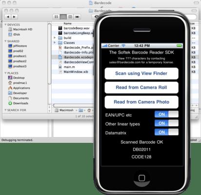 Captura de tela do Softek Barcode Reader Toolkit for Mobiles