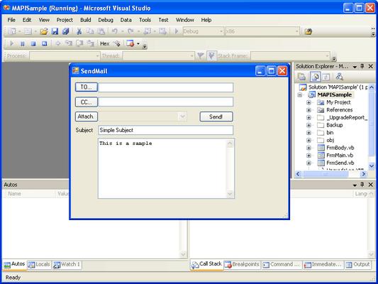 Screenshot of .Net MAPI
