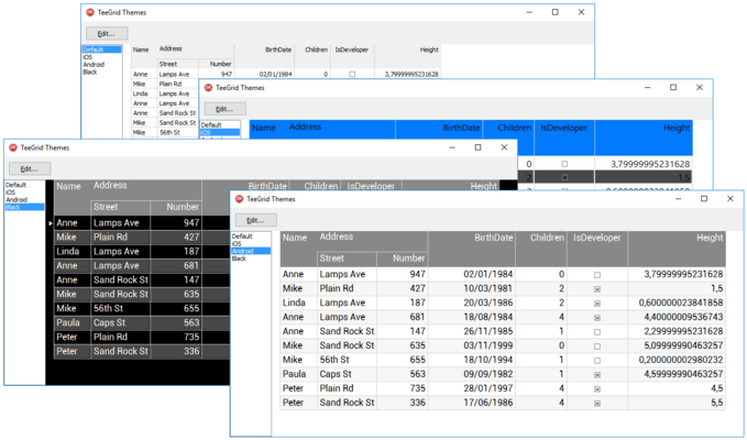 Screenshot of TeeGrid for VCL/FMX
