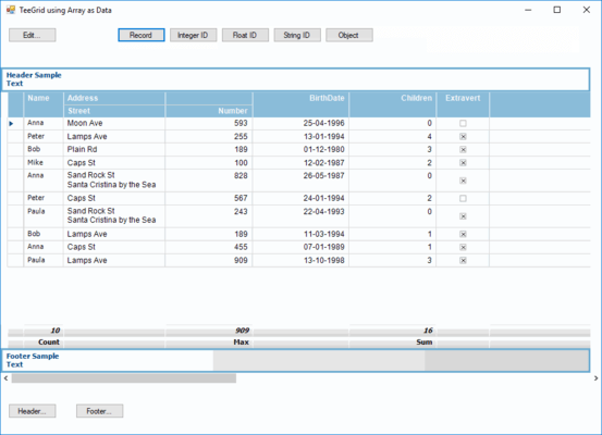 Screenshot of TeeGrid for .NET