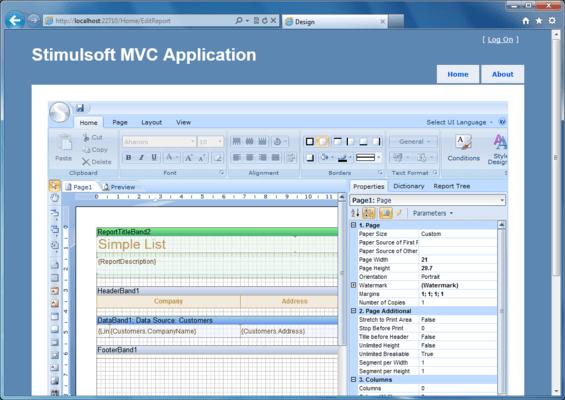 Screenshot of Stimulsoft Reports.Web for MVC