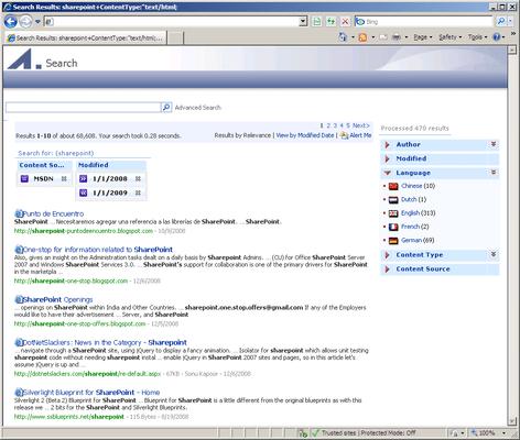 Extended Search for SharePoint 2007(英語版) のスクリーンショット